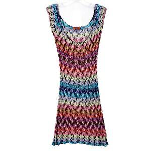 Missoni Mare Signature Knit Crochet Multicolor Swim Cover Up Tunic Size SMALL?