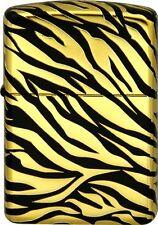 Zippo Armor Case Excellent Tiger Pattern Mat Black 5-side Deep Etching Gold Tank