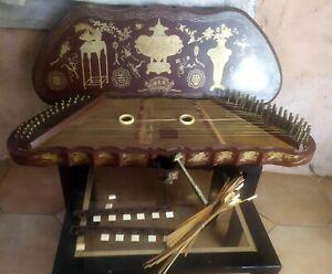 Rare Yangqin instrument de musique ancien à restaurer Laque Chine C.1900 *