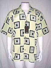 GACHU Men's Black/ Lime Geometric Detail Short Sleeve Button-Down Shirt  sz. L