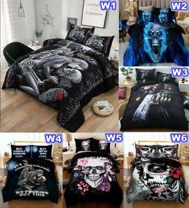 Skull Quilt/Doona/Duvet Cover Set Single Double Queen King Size Bed Pillow Cases