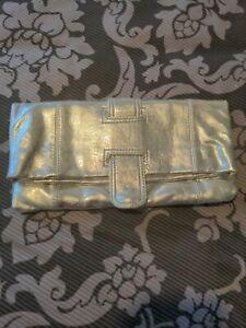 Faith Silver Leather Clutch Bag