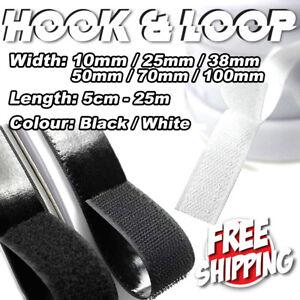 10/25/38/50/70/100mm Self-Adhesive Sew On Hook Loop Fastening Tape Black White