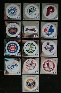 Group of 13, 1991 Fleer Baseball MLB team foil logo stickers. Excellent. cond.