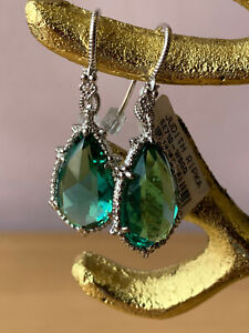 JUDITH RIPKA EMERALD GREEN QUARTZ DROP DANGLE EARRINGS 925 STERLING SILVER BNWT