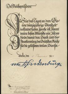 Paul von Hindenburg  Reichspräsident original  Signiert Urkunde  Autogramm ( 870