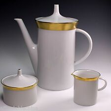 Rosenthal Porcelain Gold Coffee Pot Creamer Sugar Bowl - Mid Century