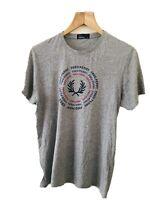 Mens Retro Designer Premium FRED PERRY T-SHIRT Casual Top Tee Grey Cotton M