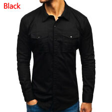 Men Long Sleeve Slim Fit Military Button Down Casual Shirt Army Cargo Work Top