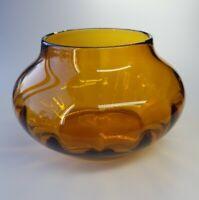 Large Hand blown Amber Vase/bowl Vintage EUC