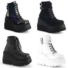DEMONIA Shaker-52 Black White Vegan Leather Goth Platform Wedge Ankle Calf Boots