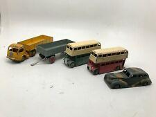 Vintage Dinky Toys Lot Of 6 Pieces, Chrysler, Kodak Semi, Double Deck Buses