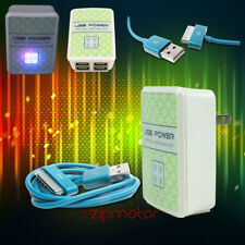 100X 4 USB PORT WALL ADAPTER+10FT CABLE CHARGER SYNC AQUA FOR IPHONE IPOD IPAD