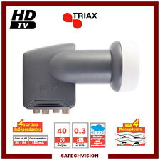 LNB Quad Triax TQD 007 0,3 dB Gain 64 dB Tête 4 Sorties Full HD 3D Ready
