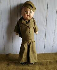 """Vintage Ideal Composition WWII Boy Doll Army Soldier 15"""" Cloth Wood Toy 1942"""