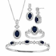 5 Ct Created Sapphire Pendant Bracelet Earring & Ring Set With Diamonds 14k