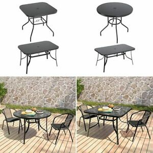 Glass Top Garden Tables Round/Square Patio Dining Metal Frame Furniture Outdoor