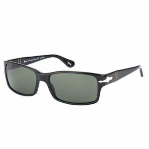 Persol PO 2803S 95/58 Black Plastic Rectangle Sunglasses Green Polarized Lens