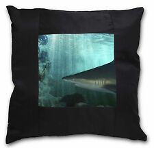 Shark Photo Black Border Satin Feel Cushion Cover With Pillow Inser, AF-SHA1-CSB