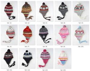 H993 Winter Ear Flap Ski Hat Beanie Cap Snow Flakes Perfect Gift