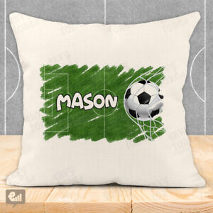 Personalised FOOTBALL Cushion Cover Pillow Case Home Boys Bedroom Bed Decor Gift