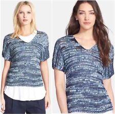 Eileen Fisher Medium Denim Brushstroke Cotton  V-Neck Top  Sweater   $248.00 NEW