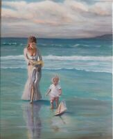 "Lady & child at Ocean,Beach,Seascape, 16x20"" Original oil Listed by artist USA"