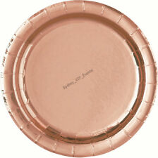 "ROSE GOLD FOIL SHINE  ROUND LUNCHEON PLATES 8PK DINNER 9"" WEDDING BIRTHDAY PARTY"