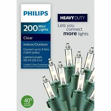 Philips 200 Count Heavy Duty Christmas Incandescent Mini String Lights Clear NEW