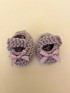 """DOLLS CLOTHES PURPLE HAND KNITTED SHOES FIT BABY BORN ANNABELL REBORN 14-17"""""""