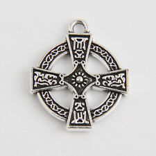 20 Celtic Cross Tibetan Silver Charms Pendants Jewelry Making Findings EIF0198