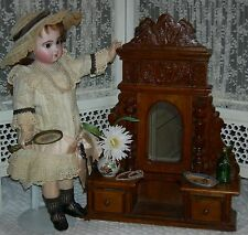 "DOLL DRESSER w/ MIRROR - VINTAGE - WOOD - 19 1/2"" TALL - PULL OUT DRAWERS"