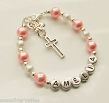 Christening bracelet Holy Communion Confirmation Personalised Pearl Charm gift