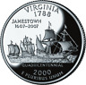 "2000 S PROOF CLAD ""Virginia"" Statehood Washington Quarter Dollar, Cameo"