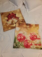 Christmas Bundle of Two Fabric Zip Pillow Covers 18x18