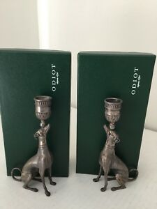 Pair of ODIOT, France, Sterling Silver Greyhound Candles Holders.