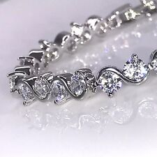 925 Sterling Silver Finish S Design Tennis Bracelet Cubic Zirconia  CZ