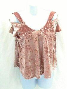 Self Esteem Women's Junior's Cold Shoulder Crushed Velvet Top Pink Size Large