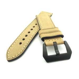 Beige Leather Watch Strap Panerai Style (Black PVD, 22mm, 24mm)