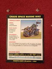 Tarjeta De Vehículos Bicicleta caos espacio Marina, 2nd Ed, Warhammer 40,000 40000 40K