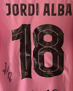 Signed Jordi Alba Barcelona Shirt EXACT PROOF Autograph Spain Jersey