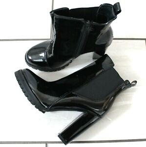 New Womens Black Vegan Patent Ankle Boots High Block Heel Side Zip Casual Shoes