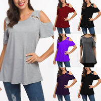 Women's Summer Cold Shoulder Loose Top Short Sleeve Blouse Casual Tops T-Shirts