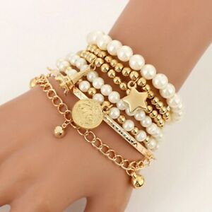 Fashion Gold Color Beads Pearl Star Multi Layer Beaded Bracelets Set for Womens