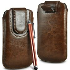 Brown Magnetic PU Leather Pull Tab  Flip Case Cover & Stylus for Mobile Phones