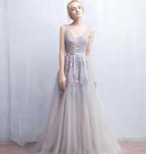 Silver Long Evening Dress Formal Party Prom Dresses Bridesmaid Cocktail Gowns