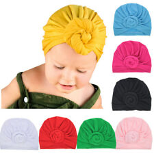 Toddler Baby Kids Elastic Turban Hat Hair Head Wrap Hat Solid Color Beanie Cap
