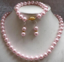 Beautiful 8mm Pink Sea Pearl Shell Necklace 18'' Bracelet 7.5'' Earring Set