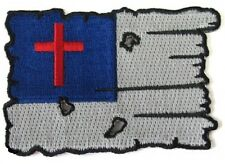 """(H14) TATTERED CHRISTIAN FLAG 3"""" x 2"""" iron on patch (5127) Biker Patches"""