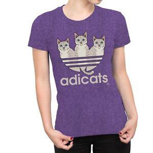 1Tee Womens ADICATS Spoof Cats T-Shirt